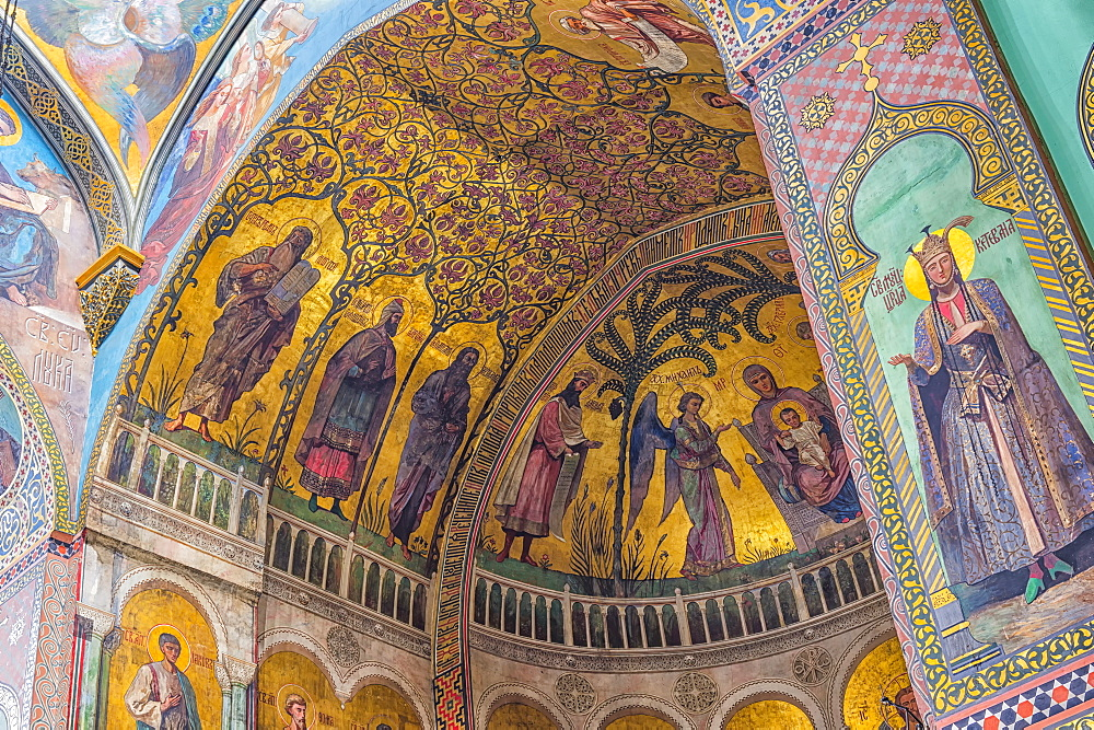 Sioni Cathedral, interior frescoes representing Biblical scenes, Tbilisi, Georgia, Caucasus, Asia