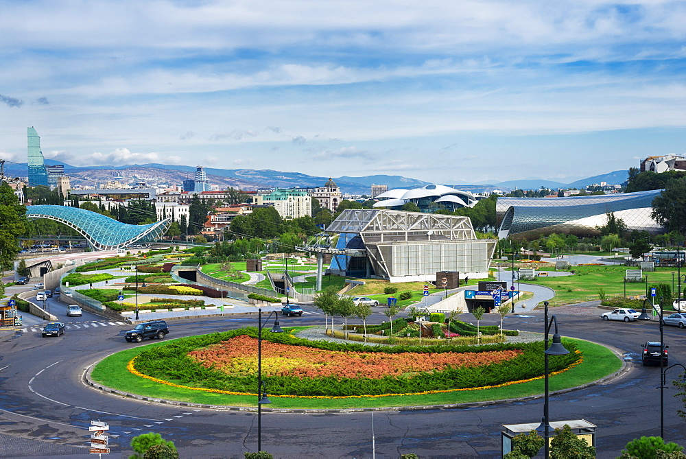 Evropis or Europe roundabout, Concert Hall and Exhibition Centre, Lower Cable car station, Tbilisi, Georgia, Caucasus, Middle Ea