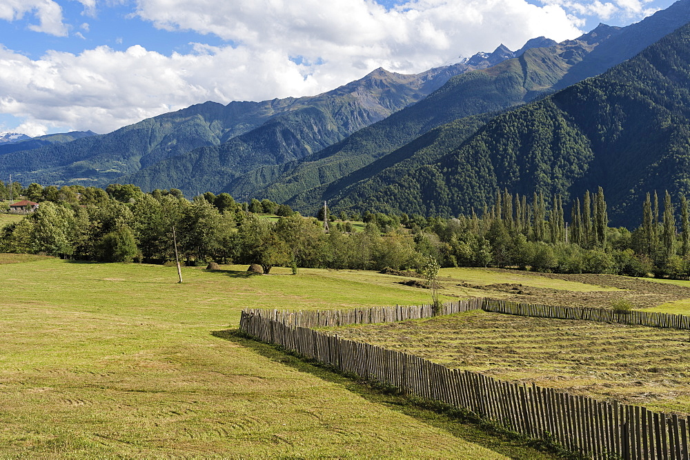 Bucolic scenery, Lashtkhveri, Svaneti region, Georgia, Caucasus, Asia