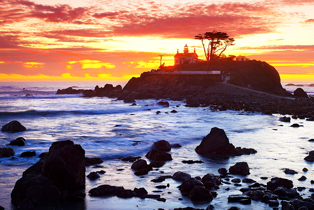 Battery Point Lighthouse at Sunset, Crescent City, California, United States of America, North America