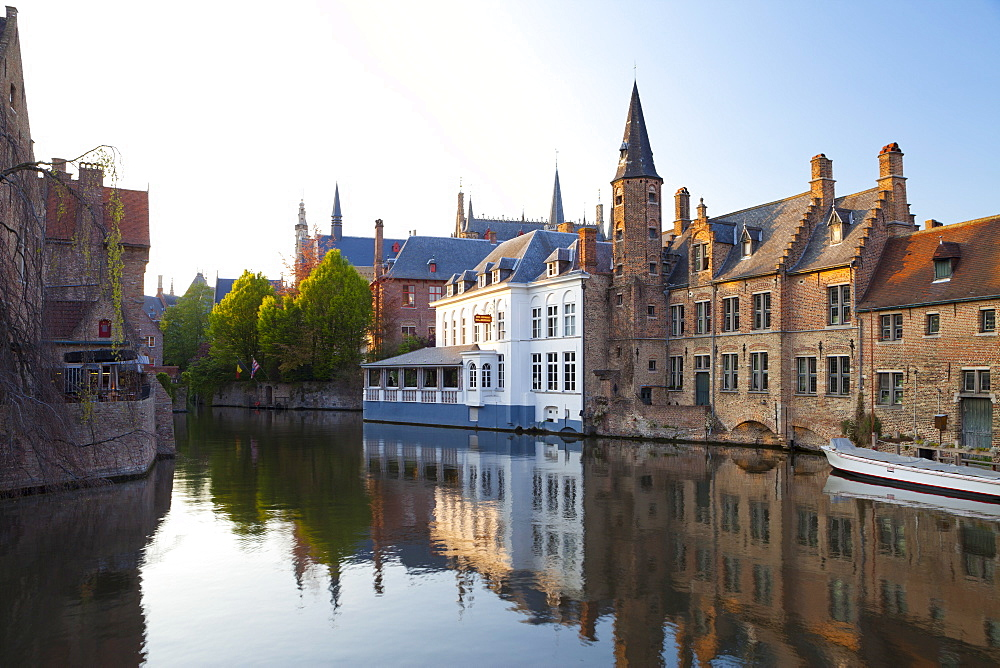 Buildings along a Canal in the Historic Center of Bruges, Belgium, Europe