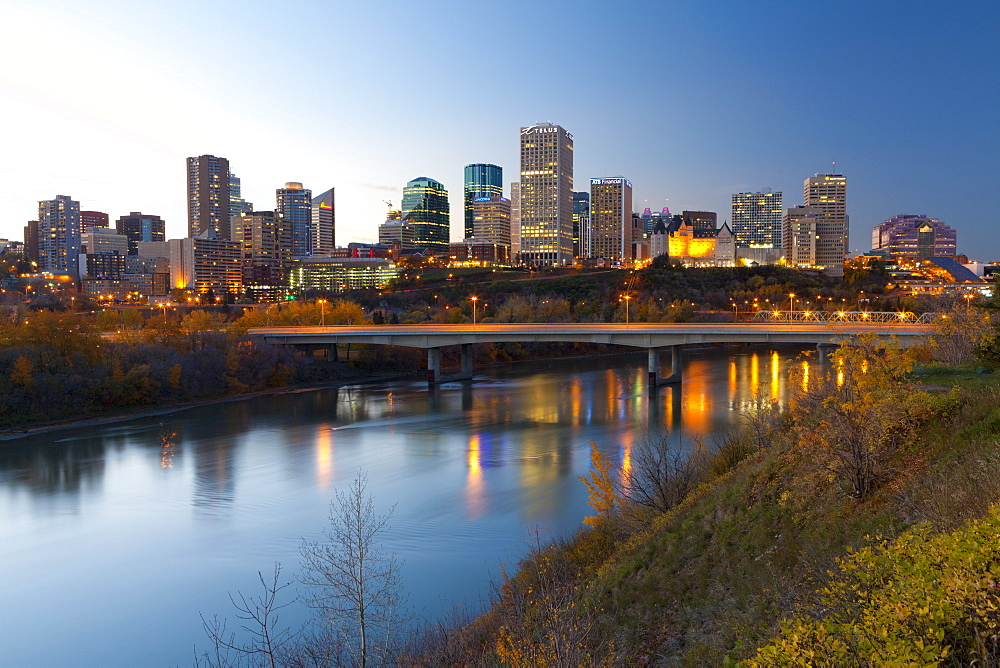 View of the Edmonton Skyline reflected in the North Saskatchewan River, Edmonton, Alberta, Canada, North America