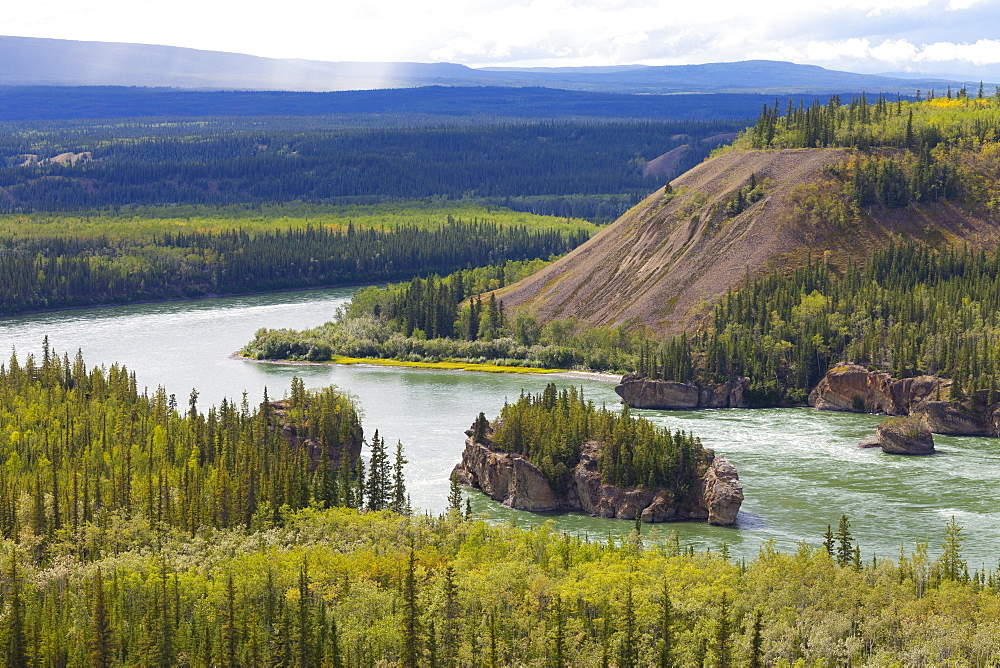 The Five Finger Rapids and the Yukon River, Yukon Territory, Canada, North America