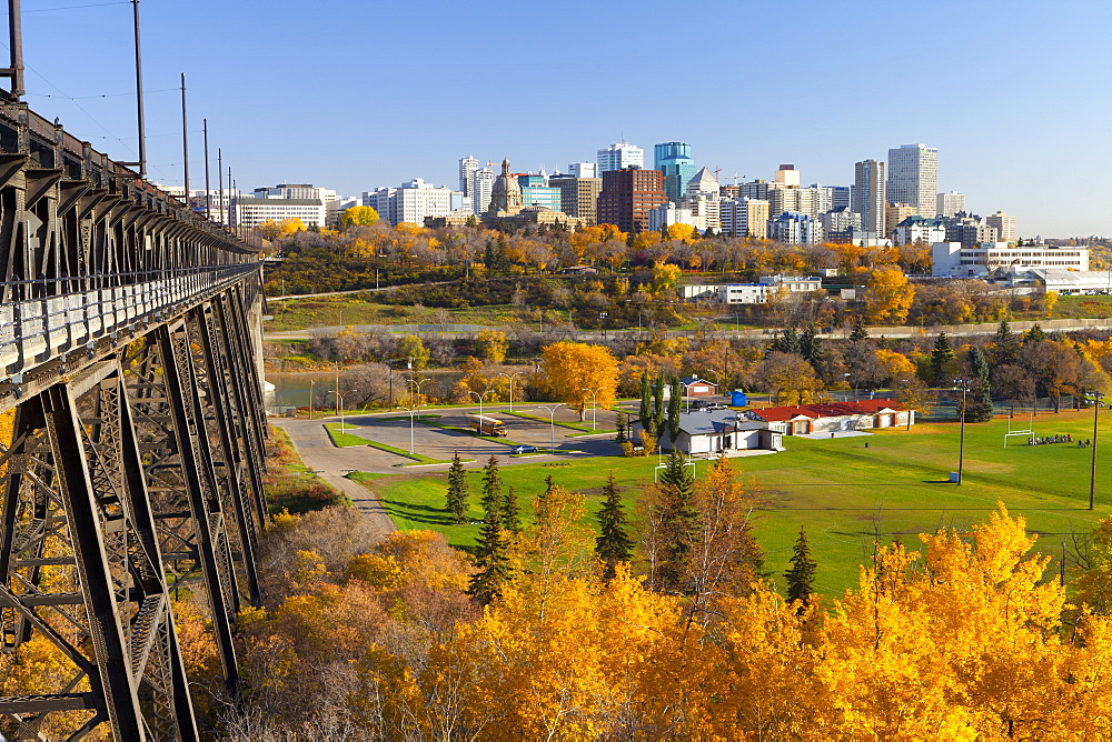 View of the Edmonton Skyline and the High Level Bridge in autumn, Edmonton, Alberta, Canada, North America