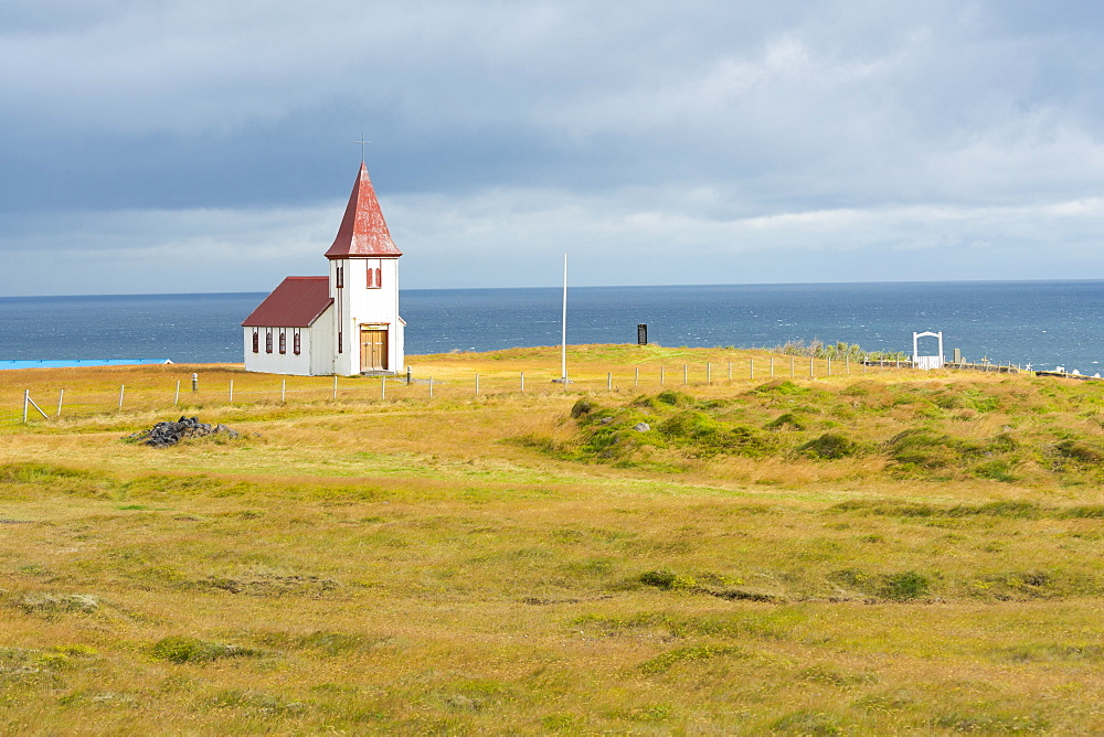 Church by the Sea, Hellnar, Snaefellsnes Peninsula, Iceland, Polar Regions
