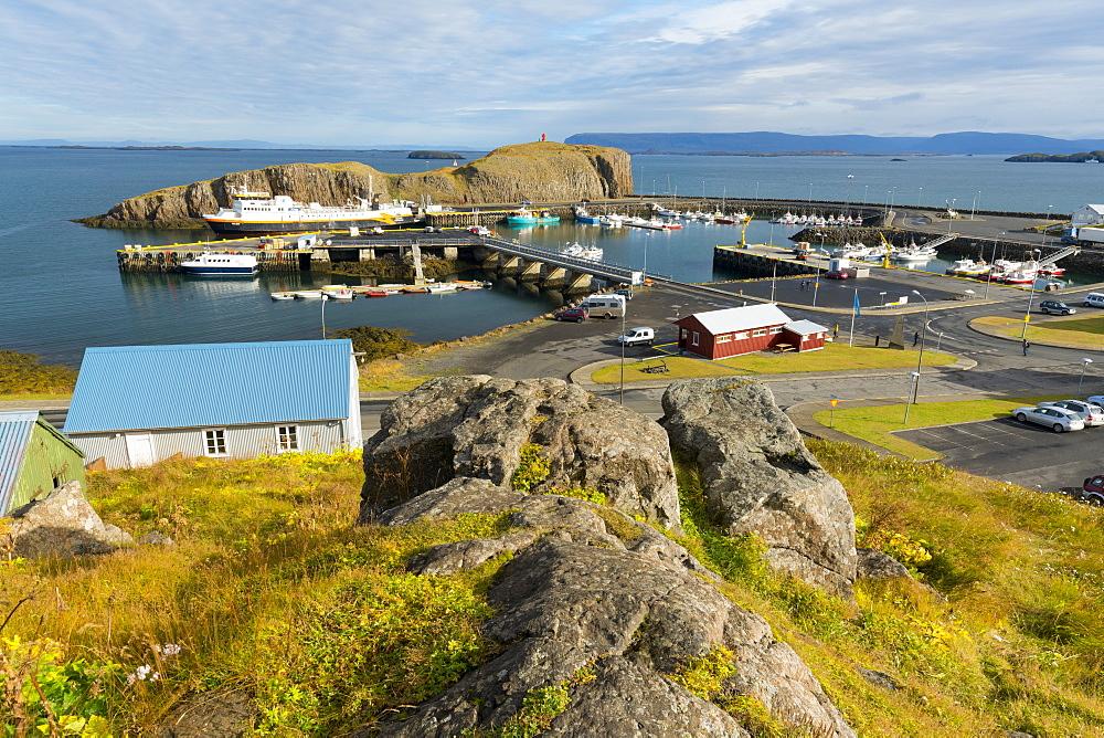 Overview of the Harbour at Stykkisholmur, Snaefellsnes Peninsula, Iceland, Polar Regions