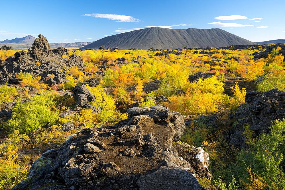 Hverfell Crater rising out of the Dimmuborgir Lava Field, Myvatn Region, Iceland, Polar Regions