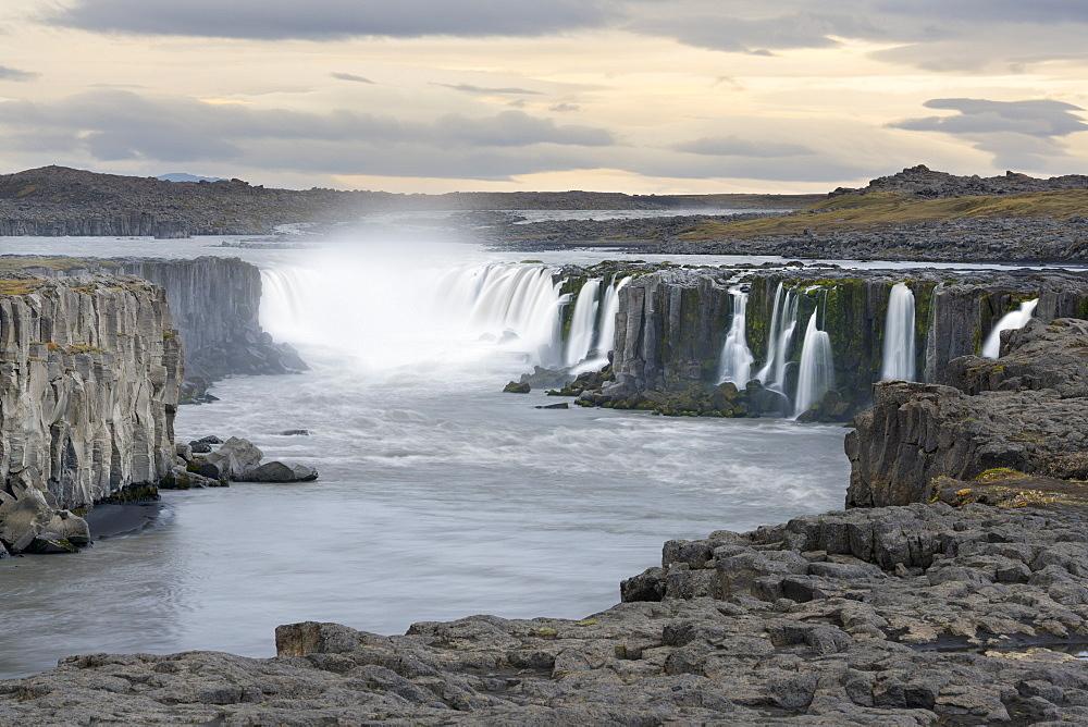 Selfoss Waterfall at Dusk, Iceland, Polar Regions