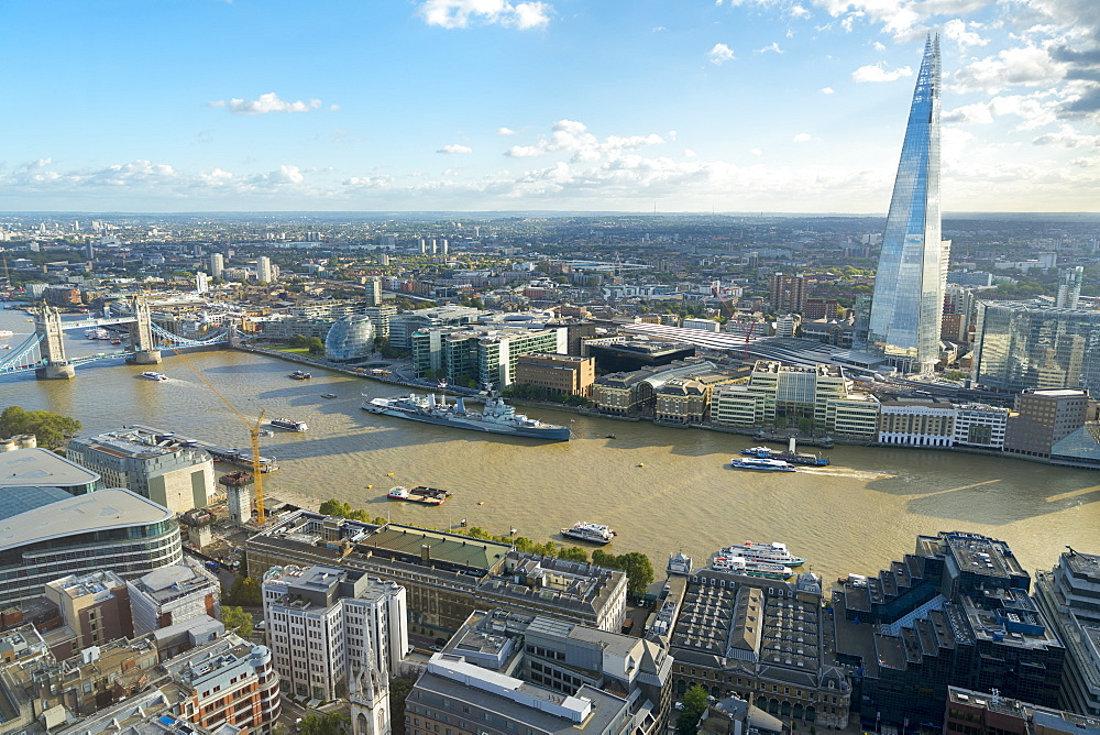Overview of the Thames river, Tower Bridge, and the Shard, London, United Kingdom