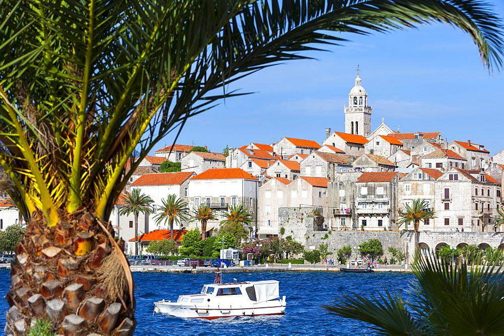Picturesque Old Town Korcula and harbour, Korcula, Dalmatia, Croatia, Europe