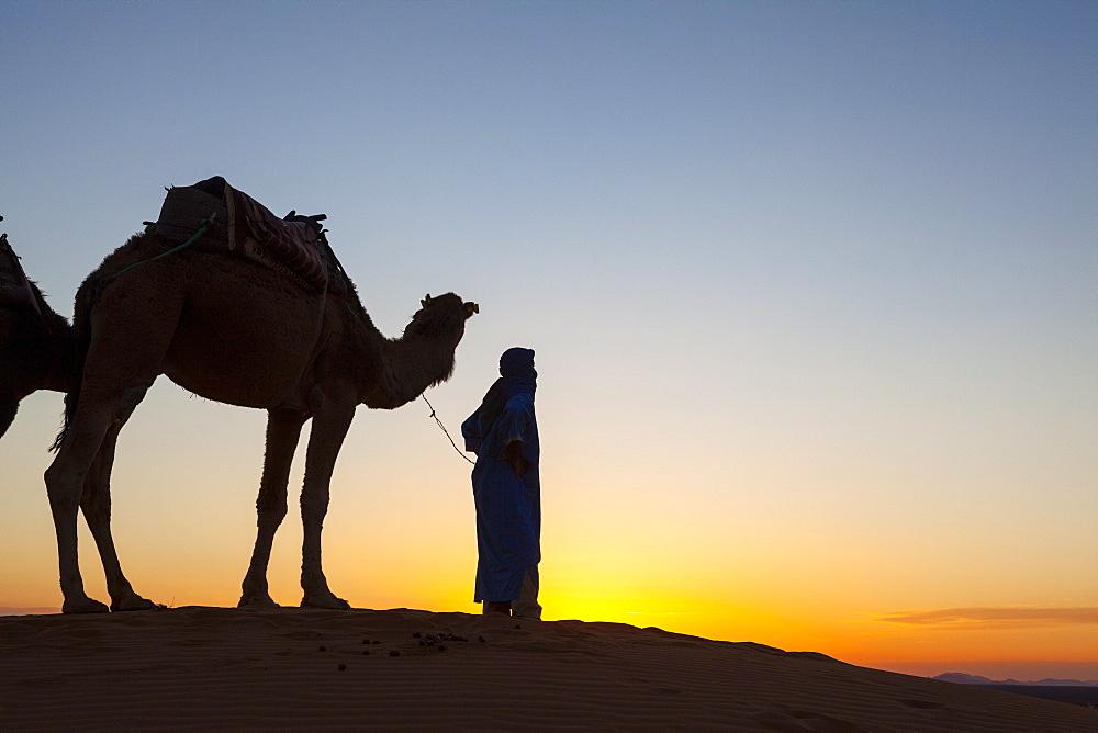 Camel driver, Sahara Desert, Merzouga, Morocco, North Africa, Africa