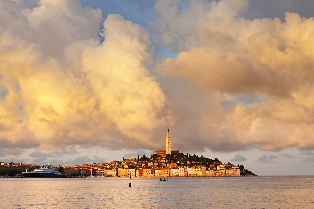 Old town and the cathedral of St. Euphemia at sunset, Rovinj, Istria, Croatia, Adriatic, Europe