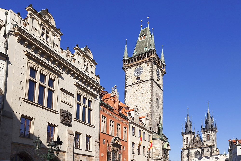 Old Town Hall and Tyn Cathedral, Old Town Square (Staromestske namesti), Prague, Bohemia, Czech Republic, Europe