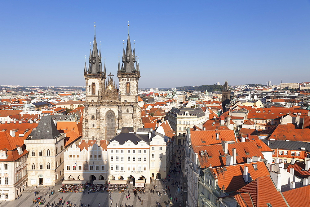 View over the Old Town Square (Staromestske namesti) with Tyn Cathedral (Church of Our Lady Before Tyn), Prague, Bohemia, Czech Republic, Europe