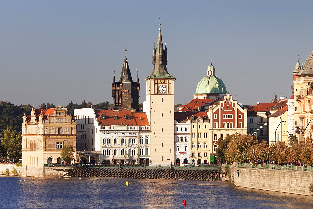 View over the River Vltava to Smetana Museum, Dome of St. Francis Church and Old Town Bridge Tower, Old Town (Stare Mesto), Prague, Bohemia, Czech Republic, Europe