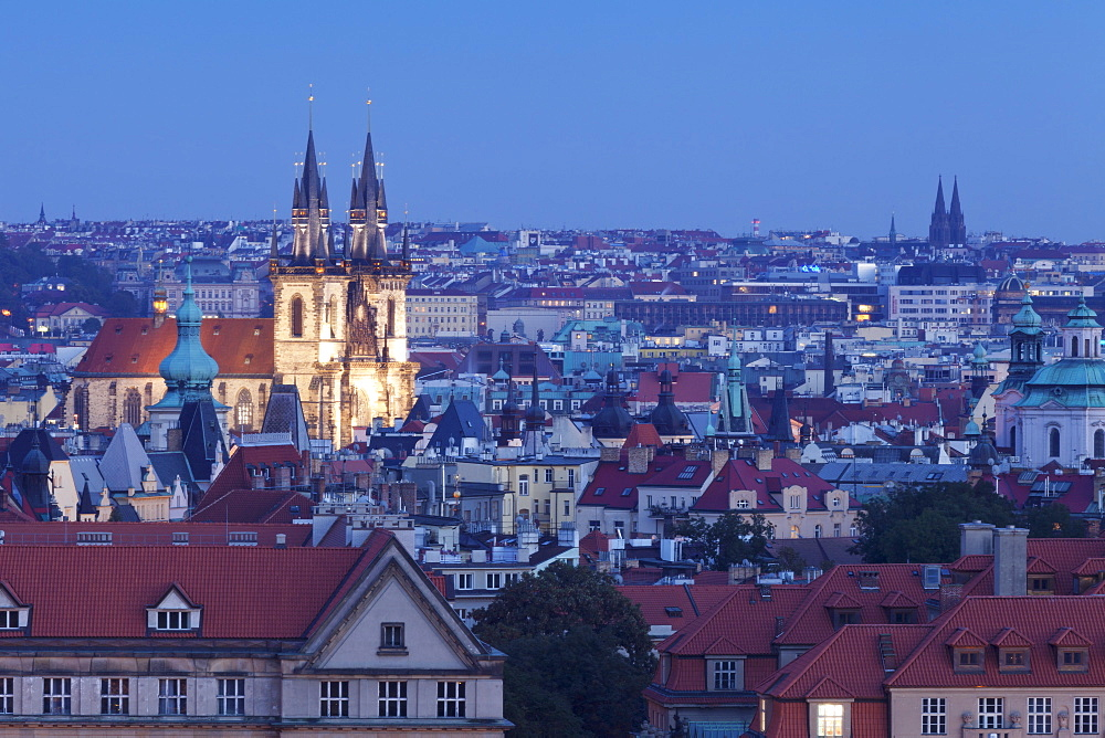View over the Old Town with Tyn Cathedral (Church of Our Lady Before Tyn), Prague, Bohemia, Czech Republic, Europe