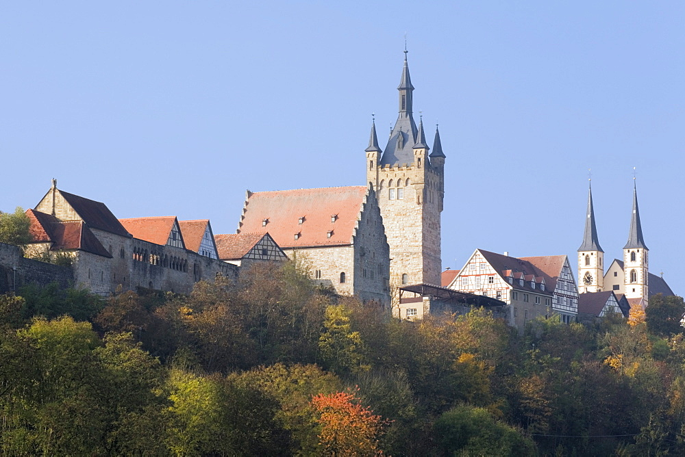 Blauer Turm Tower and St. Peter collegiate church, Bad Wimpfen, Neckartal Valley, Baden Wurttemberg, Germany, Europe