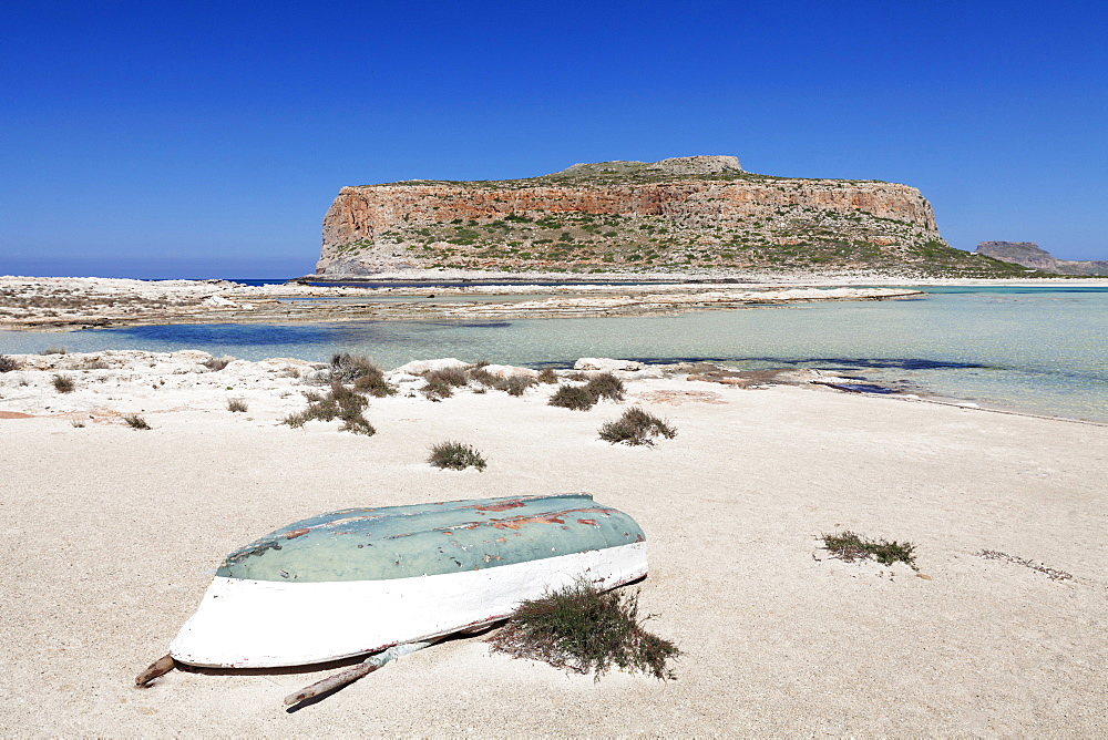 Balos bay and beach, Gramvousa Peninsula, Crete, Greek Islands, Greece, Europe