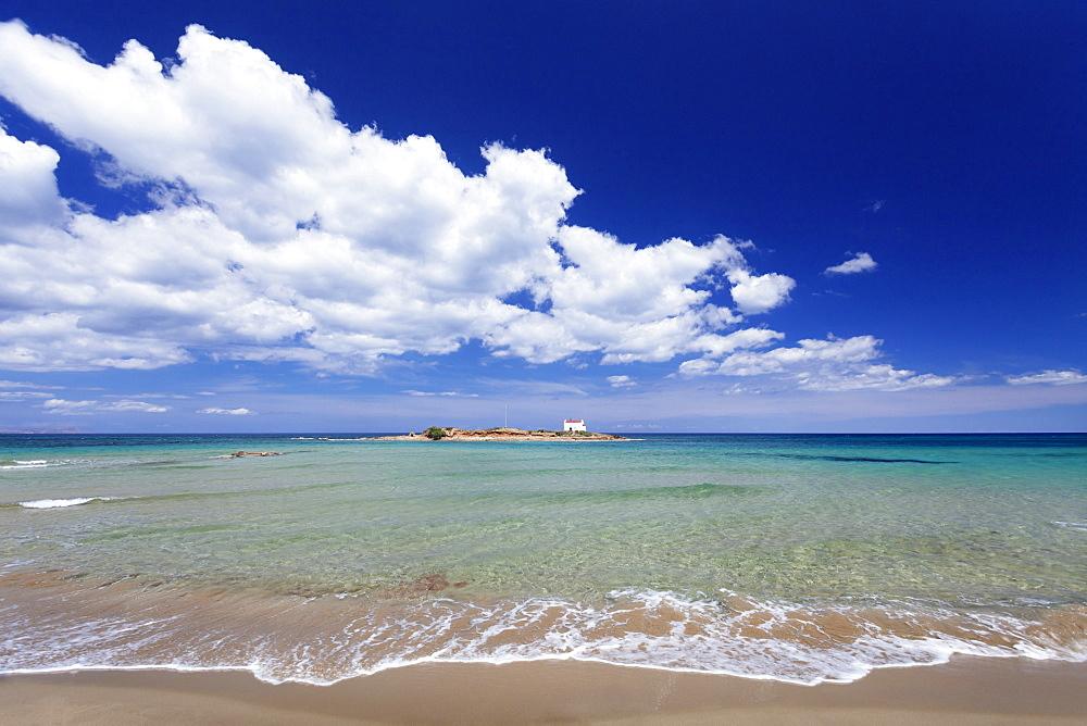 Malia Beach, chapel on an island, Malia, Iraklion, Crete, Greek Islands, Greece, Europe
