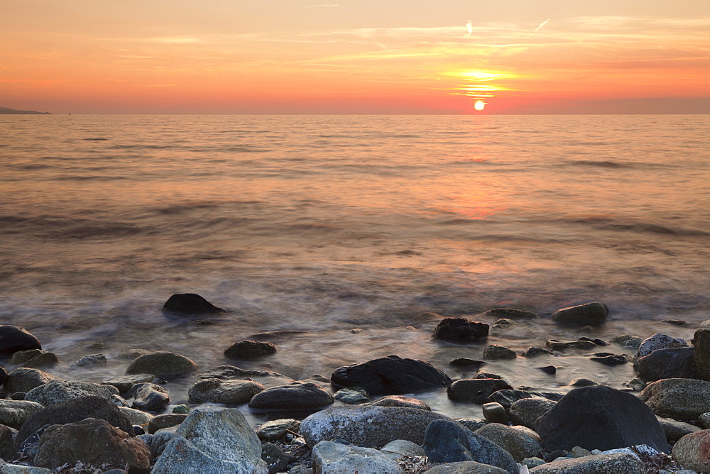 Sunset at the Gulf of Saint Florent, Corsica, France, Mediterranean, Europe
