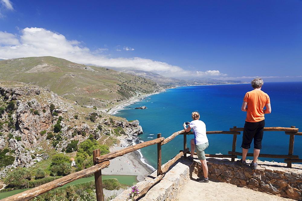 Viewing point of Preveli Beach, Rethymno District, South Crete, Crete, Greek Islands, Greece, Europe