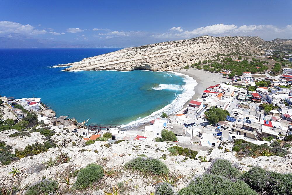 Matala Bay and Beach, Heraklion District, Crete, Greek Islands, Greece, Europe