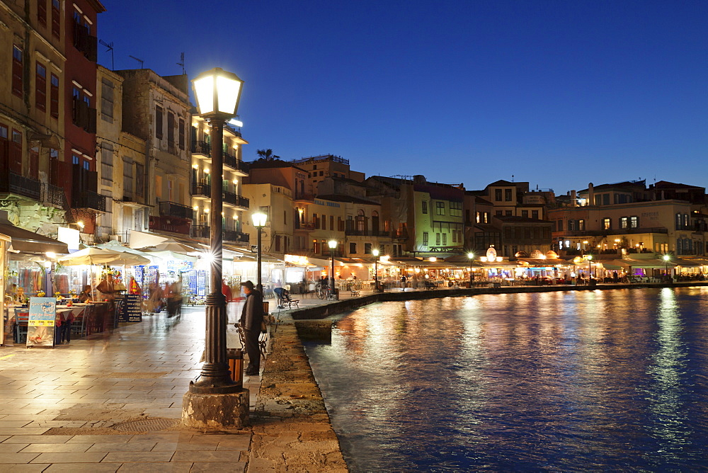 Promenade at Venetian Port, Chania, Crete, Greek Islands, Greece, Europe