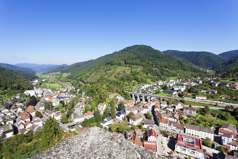 View from the castle to Hornberg and Gutachtal Valley, Black Forest, Baden Wurttemberg, Germany, Europe