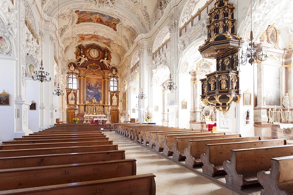 Church of Benedictine Abbey, Benediktbeuren, Bad Toelz Wolfratshausen, Upper Bavaria, Bavaria, Germany, Europe