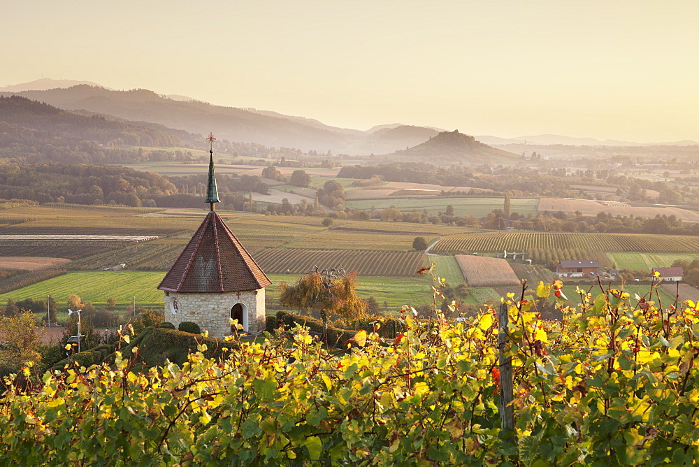 View over Ehrenstetten Oelbergkapelle Chapel to Staufen Castle, Breisgau, Markgraefler Land, Black Forest, Baden Wurttemberg, Germany, Europe - 1160-2379