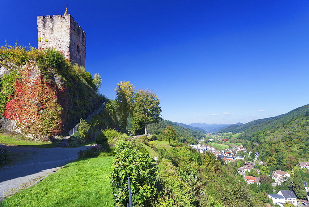 Hornberg Castle and view over Gutachtal Valley, Black Forest, Baden Wurttemberg, Germany, Europe