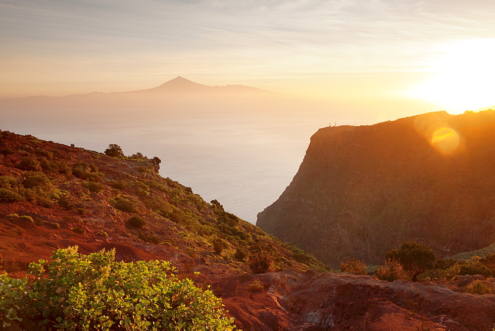 View from Gomera to Tenerife with Teide volcano at sunrise, Canary Islands, Spain, Atlantic, Europe