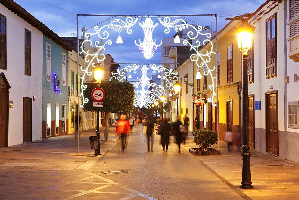 Calle Real at Christmas time, San Sebastian, La Gomera, Canary Islands, Spain, Europe