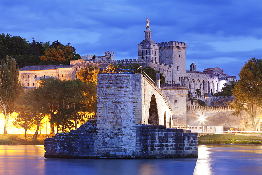 Bridge St. Benezet over Rhone River with Notre Dame des Doms Cathedral and Papal Palace, UNESCO World Heritage Site, Avignon, Vaucluse, Provence, Provence-Alpes-Cote d'Azur, France, Europe