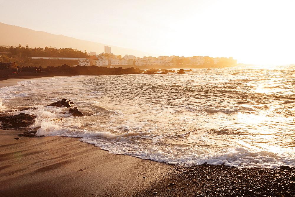 Playa Jardin Beach, Punta Brava at sunset, Puerto de la Cruz, Tenerife, Canary Islands, Spain, Atlantic, Europe