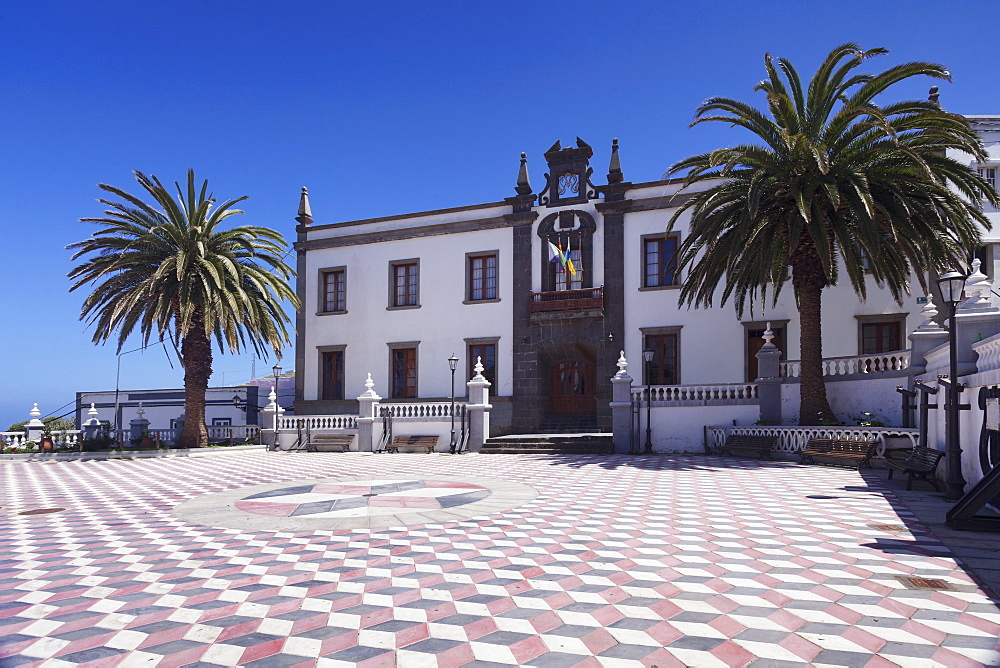 Townhall at Plazza Virrey de Manila Square, Valverde, UNESCO biosphere reserve, El Hierro, Canary Islands, Spain, Europe