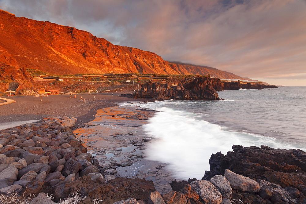 Playa de Charco Verde beach at sunset, Puerto Naos, La Palma, Canary Islands, Spain, Atlantic, Europe