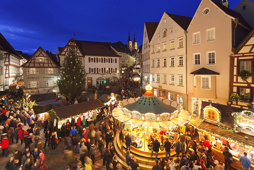 Christmas fair, Blauer Turm Tower, Bad Wimpfen, Baden-Wurttemberg, Germany, Europe