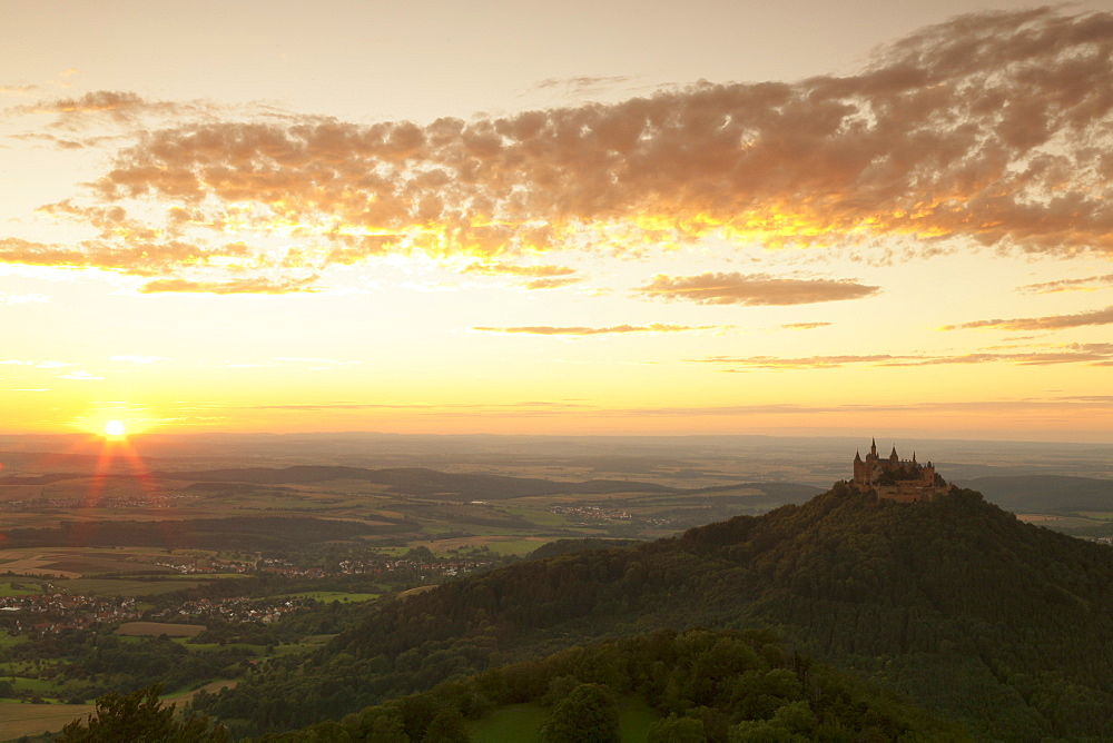 Burg Hohenzollern Castle at sunset, Hechingen, Swabian Alps, Baden-Wurttemberg, Germany, Europe
