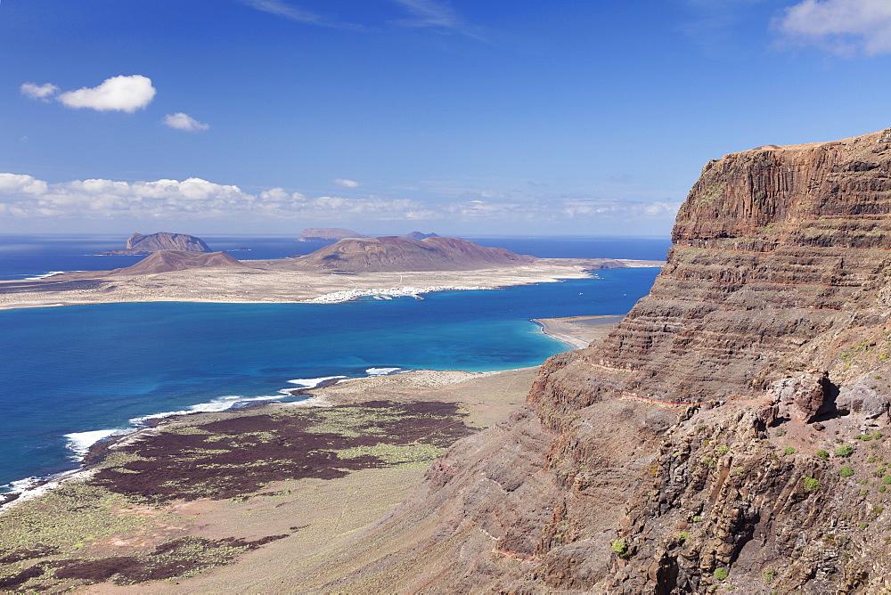 View from Famara Mountains to La Graciosa Island, Lanzarote, Canary Islands, Spain, Atlantic, Europe