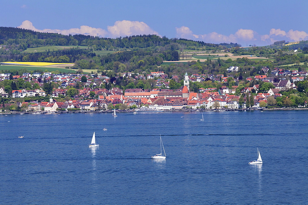 View over Lake Constance to Ueberlingen, Lake Constance, Baden-Wurttemberg, Germany, Europe