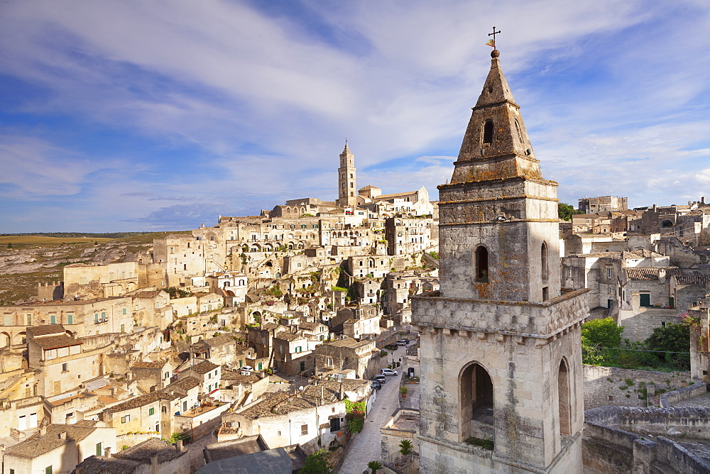 Bell tower of Chiesa di San Pietro Barisano, view over Sasso Barisano, UNESCO World Heritage Site, Matera, Basilicata, Puglia, Italy, Europe