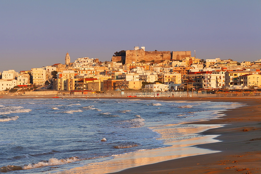 Old town with cathedral at sunset, Vieste, Gargano, Foggia Province, Puglia, Italy, Europe