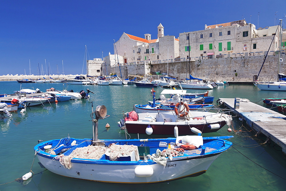 Fishing boats at the harbour, old town with cathedral, Giovinazzo, Bari district, Puglia, Italy, Europe