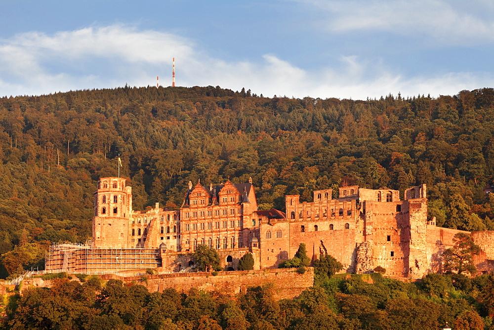Castle at sunset, Heidelberg, Baden-Wurttemberg, Germany, Europe