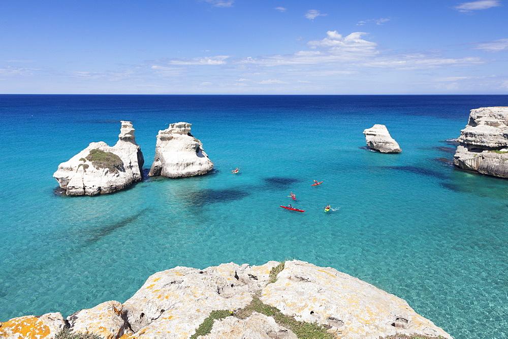 Rocky coast near Torre dell'Orso, Due Sorello Rocks (Two Sisters), Adriatic Sea, Lecce province, Salentine Peninsula, Puglia, Italy, Mediterranean, Europe