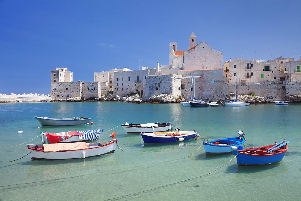 Fishing boats at the harbour, old town with cathedral, Giovinazzo, Bari district, Puglia, Italy, Mediterranean, Europe