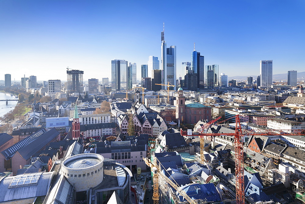 Frankfurt skyline with Paulskirche church, Roemerberg and financial district, Frankfurt, Hesse, Germany, Europe