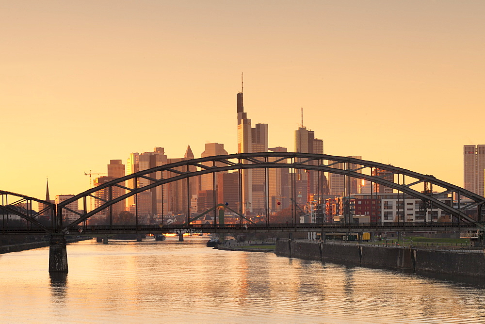 View over Main River to the financial district, skyline of Frankfurt, Hesse, Germany, Europe