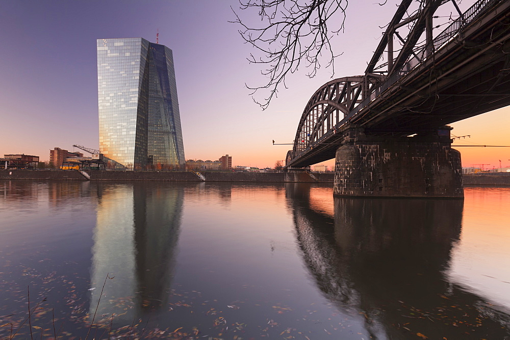 View over Main River to European Central Bank, Frankfurt, Hesse, Germany, Europe